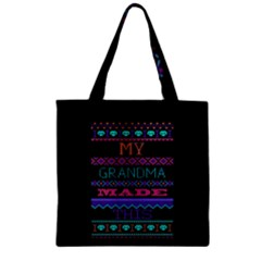 My Grandma Made This Ugly Holiday Black Background Zipper Grocery Tote Bag