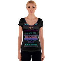 My Grandma Made This Ugly Holiday Black Background Women s V-Neck Cap Sleeve Top