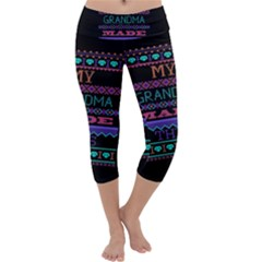 My Grandma Made This Ugly Holiday Black Background Capri Yoga Leggings