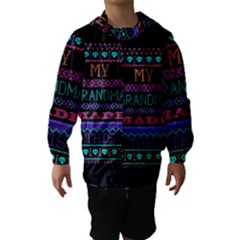 My Grandma Made This Ugly Holiday Black Background Hooded Wind Breaker (Kids)