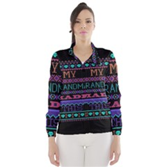 My Grandma Made This Ugly Holiday Black Background Wind Breaker (Women)