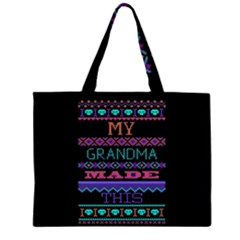 My Grandma Made This Ugly Holiday Black Background Large Tote Bag