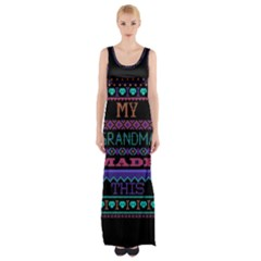 My Grandma Made This Ugly Holiday Black Background Maxi Thigh Split Dress