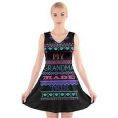 My Grandma Made This Ugly Holiday Black Background V-Neck Sleeveless Skater Dress