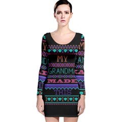 My Grandma Made This Ugly Holiday Black Background Long Sleeve Velvet Bodycon Dress