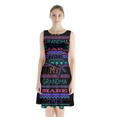 My Grandma Made This Ugly Holiday Black Background Sleeveless Waist Tie Chiffon Dress