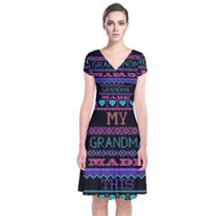 My Grandma Made This Ugly Holiday Black Background Short Sleeve Front Wrap Dress