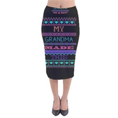 My Grandma Made This Ugly Holiday Black Background Velvet Midi Pencil Skirt