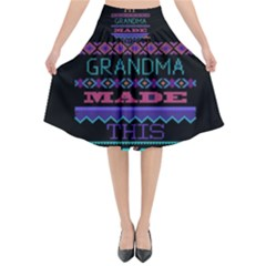 My Grandma Made This Ugly Holiday Black Background Flared Midi Skirt