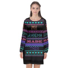 My Grandma Made This Ugly Holiday Black Background Long Sleeve Chiffon Shift Dress