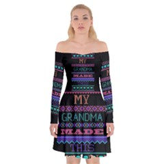 My Grandma Made This Ugly Holiday Black Background Off Shoulder Skater Dress