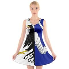 Flag of Connacht V-Neck Sleeveless Skater Dress