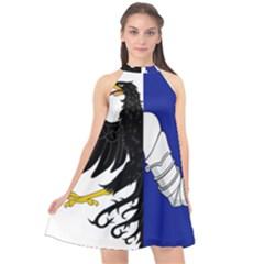 Flag Of Connacht Halter Neckline Chiffon Dress