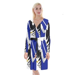 Flag of Connacht Long Sleeve Velvet Front Wrap Dress