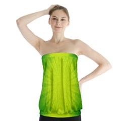 Radial Green Crystals Crystallize Strapless Top