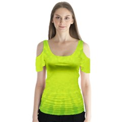 Radial Green Crystals Crystallize Butterfly Sleeve Cutout Tee