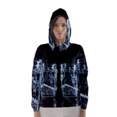 Glass Water Liquid Background Hooded Wind Breaker (Women)