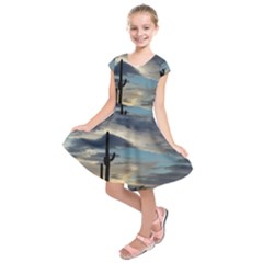 Cactus Sunset Kids  Short Sleeve Dress