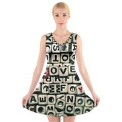 Love V-Neck Sleeveless Skater Dress