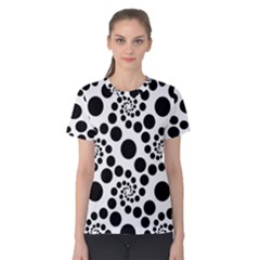 Dot Dots Round Black And White Women s Cotton Tee