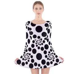 Dot Dots Round Black And White Long Sleeve Velvet Skater Dress
