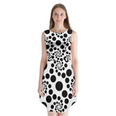 Dot Dots Round Black And White Sleeveless Chiffon Dress