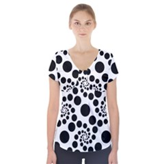 Dot Dots Round Black And White Short Sleeve Front Detail Top
