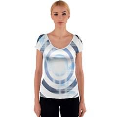 Center Centered Gears Visor Target Women s V-Neck Cap Sleeve Top