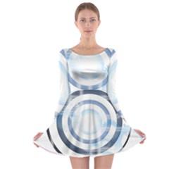 Center Centered Gears Visor Target Long Sleeve Skater Dress