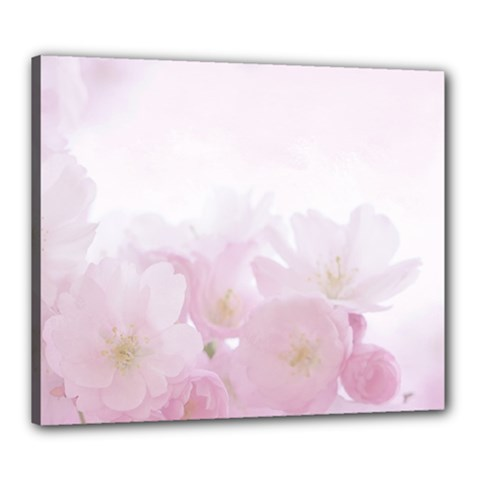 Pink Blossom Bloom Spring Romantic Canvas 24  x 20