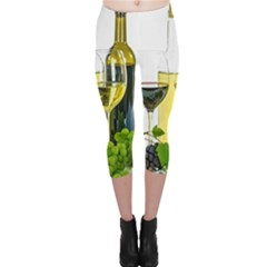White Wine Red Wine The Bottle Capri Leggings