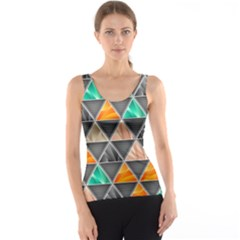 Abstract Geometric Triangle Shape Tank Top