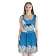 Sky Clouds Blue White Weather Air Split Back Mini Dress