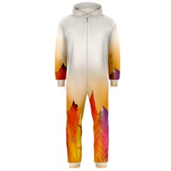 Autumn Leaves Colorful Fall Foliage Hooded Jumpsuit (Men)