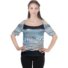 Wave Concentric Waves Circles Water Women s Cutout Shoulder Tee