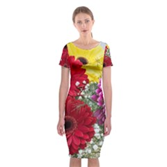 Flowers Gerbera Floral Spring Classic Short Sleeve Midi Dress