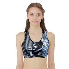 Motorcycle Details Sports Bra with Border