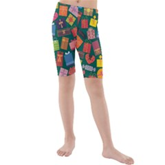 Presents Gifts Background Colorful Kids  Mid Length Swim Shorts