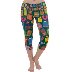 Presents Gifts Background Colorful Capri Yoga Leggings