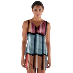 Shingle Roof Shingles Roofing Tile Wrap Front Bodycon Dress