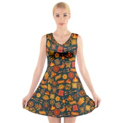 Pattern Background Ethnic Tribal V-Neck Sleeveless Skater Dress