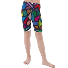 Stained Glass Color Texture Sacra Kids  Mid Length Swim Shorts