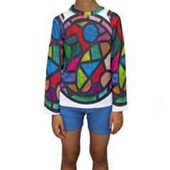 Stained Glass Color Texture Sacra Kids  Long Sleeve Swimwear