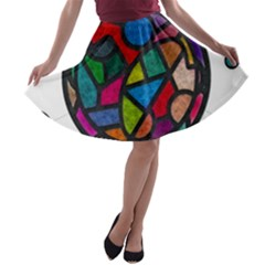 Stained Glass Color Texture Sacra A-line Skater Skirt