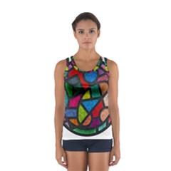 Stained Glass Color Texture Sacra Women s Sport Tank Top