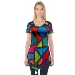 Stained Glass Color Texture Sacra Short Sleeve Tunic