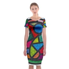 Stained Glass Color Texture Sacra Classic Short Sleeve Midi Dress