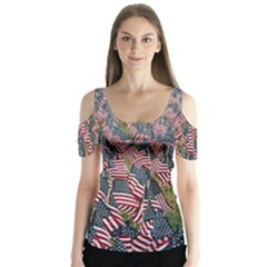Repetition Retro Wallpaper Stripes Butterfly Sleeve Cutout Tee