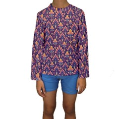 Abstract Background Floral Pattern Kids  Long Sleeve Swimwear