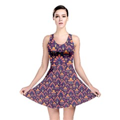 Abstract Background Floral Pattern Reversible Skater Dress